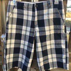 Tan/ Black Flat Front Shorts